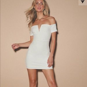 Lulus White Off the Shoulder Mini Dress